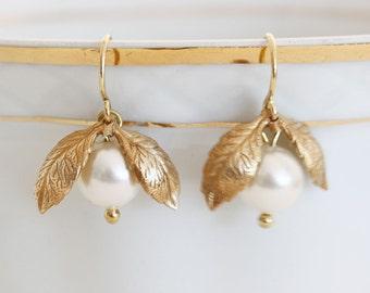 Gold Leaf Earrings  White Swarovski Wedding Jewelry