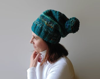 Teal Wool Hand Knit Pom Pom Beanie, One of a Kind, Stocking Hat, Chunky Knit Hat, Women Beanies, Pompom Bonnet Hat, Bobble Hat, Pom Pom Hat
