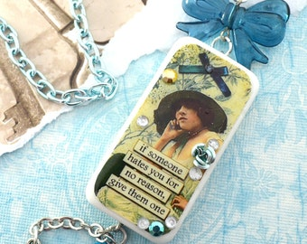 HATERS - Couture Domino Resin Sarcastic Vintage Meme Necklace