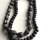 SALE, Buoy necklace in black, one of a kind, beaded necklace
