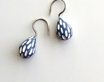 Carved tiny drop earrings, aqua, blue, hand carved earrings