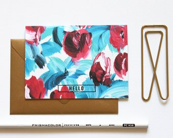 HELLO Notes  Floral Blue and Red / Set (10) / Shimmery Antique Gold Envelopes / Stationery