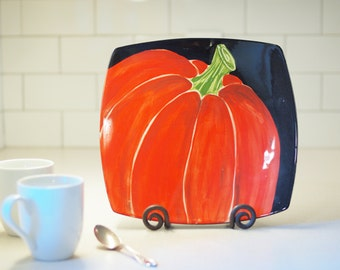 "Pumpkin Plate READY TO SHIP Fall Plate Halloween Plate Thanksgiving Plate Platter Appetizer Serving Plate Mod Medium Square 11"" Pottery"