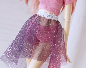 Doll MSD Minifee BJD clothes Multi color rainbow glitter hi-low skirt MonstroDesigns