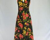 Vintage 70s Halter Maxi Dress Wild Floral Print Day Glow Colors
