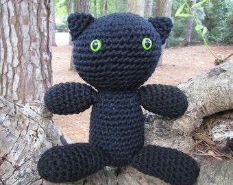Amigurumi Animal Cat.  Amigurumi Black Cat. Black Cat Plush Toy. Kawaii Cat. Cat in Crochet. Gift for Cat Lovers and Kids. Black Cat Softie