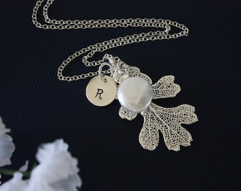 Silver Oak Leaf Necklace Personalized, Silver Leaf, Silver Initial Charm, Silver Necklace, Monogram, Bridesmaid Gift, Lacey Oak, Pearl