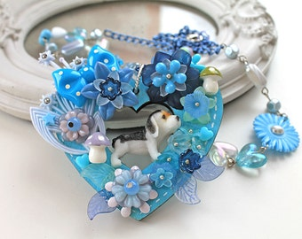 Kawaii fairy kei necklace dog puppy blue flowers extravagant lolita