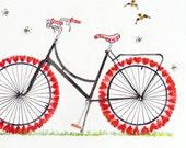 Original bicycle watercolor bike painting,Bike illustration poster,  Love painting, Gifts for women, Bike original art, Red white painting