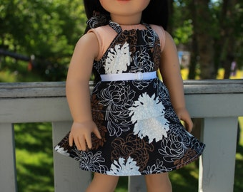18 inch doll clothes, floral print circle/skater skirt, matching halter top and belt