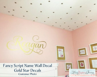 Script Name Wall Decal Fancy Swirl Font - Vinyl Wall Decal for Nursery Removable Wall Decal - Monogram Wall Sticker - Girls Room Decor USA