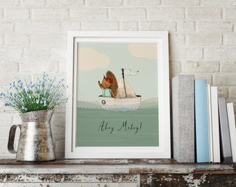 Squirrel boat, Boys room decor, boys wall decor, baby shower boy, art for boys room, kids room decor,boy nursery art, boy nursery decor