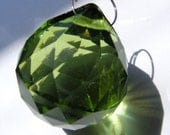 SPRING GREEN glass ball suncatcher ~ Faceted 30mm PRISM lightcatcher ~ Feng Shui - suncatcher - for glass crafting
