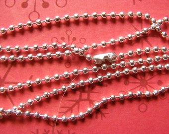 Six (6) Bright silver-plated Ball Chains for Necklaces and/or crafting!  -  24 inches long and 2.4mm wide