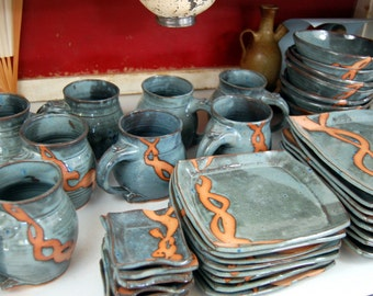 Service for Eight in Slate Blue with Rust Chain Dinnerware Set - Made to Order