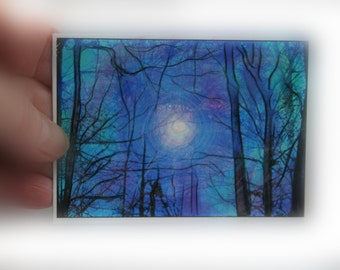 aceo, trees, aceo, blue art, Gift under 20, Winter fog, art, photography, miniature art, Aceo original, blue trees, tree art, Tiny art #Aceo