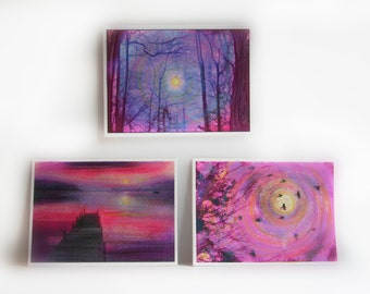 Winter trees, Harvest moon, Fishing at dawn, 3 aceo originals in pinks and violets, Aceo originals, moon, tree art, little gifts