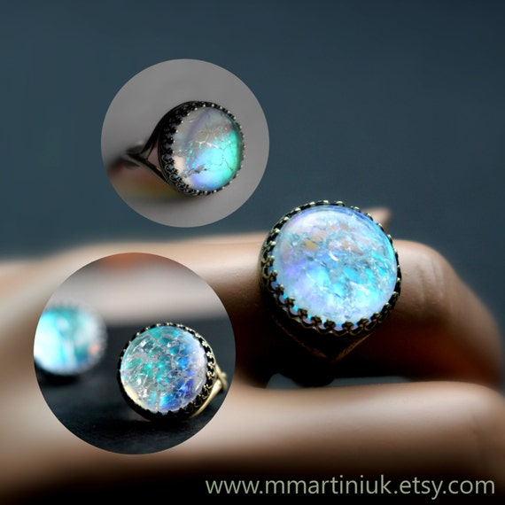 Items Similar To Opal Ring Exquisite Braided Opal: Items Similar To Faux Opal Ring, Blue Opal, Fractured