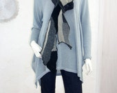 Long Upcycled Patchwork Scarf/ Black and Grey Wool Knit, Reversible Bohemian Collage/brenda abdullah