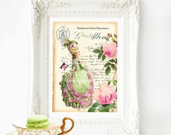 Marie Antoinette, print, French vintage home decor, pink rose, home decor, French, French receipt, fashion print, wall art, pink, yellow, A4