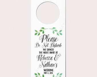 Wedding Door Hanger, Do Not Disturb Sign, Watercolor Wreath, Custom Door Hanger, Unique Wedding Favor, Wedding Door Sign, Hotel Door Hanger