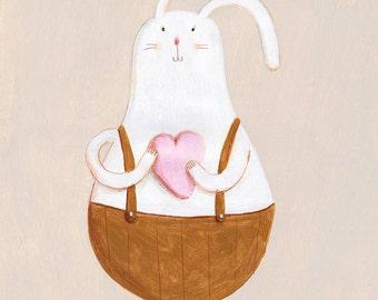 big heart original Illustration, rabbit love, art for children, wall decor, kids room, wall art, love
