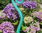 Turquoise Blue Glass Fiddlehead Garden Art Sculpture Outdoor Decoration