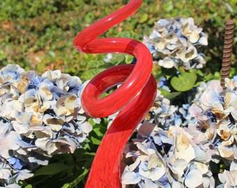 Cherry Red Glass Sculpted Tigger Tail Garden Art Finial Outdoor Garden Sculpture