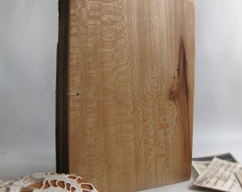 Blank book Guest book wooden covers Leather casing