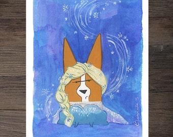 Corgi Elsa Art Print