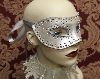 Snowflake mask - Hand tooled Leather Mask Decorated with Swarovski Crystals - Ready to ship