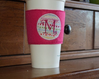 Monogramed Coffee Cozy Sleeve - Pink w/hearts