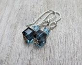 Swarovski Crystal Earrings Montana Blue Sparkly Sterling Silver Beaded Dangle Earrings Small Bridesmaid Sotcking Stuffer Gift Under 10