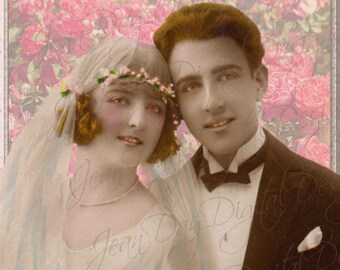Bride and Groom French 1924 with roses, Photomontage design Instant Digital Download, Wedding Gift Card or Photo PS014