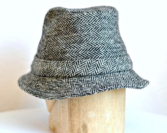 Irish Walking Hat in Vintage Herringbone Tweed - Men's Wool Hat