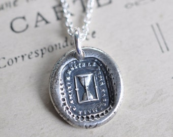 hourglass wax seal necklace ... time passes but friendship remains - friendship necklace - victorian wax seal jewelry - friendship gift