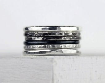 Ombre Silver Stacking Rings, Hammered Silver, Varied Texture, Unique Rings, Set of Six