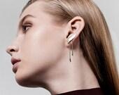 Liam Earrings, Long Chain Earrings, Silver Climber Earrings, Silver Ear Climber Earrings, Geometric Earrings, Ear Bar, Ear crawler Silver