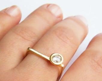 Chole, geometric engagement ring, minimalist diamond engagement ring, round cut solitaire engagement ring, asymmetrical engagement ring gold