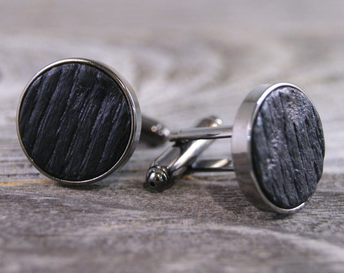 Featured listing image: Cufflinks Crafted from a Bourbon Barrel