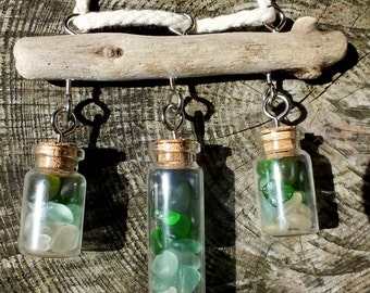 Scottish Sea Glass in Wee Corked Bottles, Driftwood from Scotland, Window Decoration