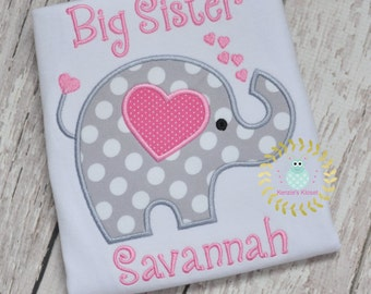Elephant Applique New Baby Announcement - Short Sleeve shirt-  Custom made, Personalized Big Sister Big Sis