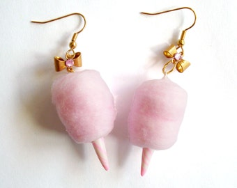 Pink Cotton Candy Earrings Carnival Cotton Candy Earrings Fairy Candy Floss Earrings Gold Kitschy Jewelry Mini Food Jewelry