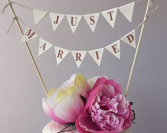 Cake Topper Bunting ~ Just Married ~ wedding cake topper