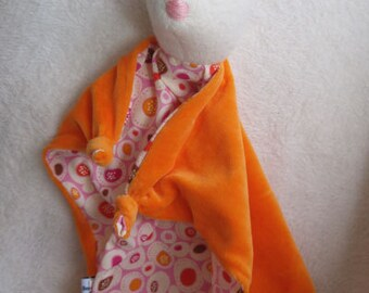 Baby Bunny Blanket , All Natural Materials, Orange