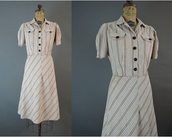 1940s Dress Striped Cotton Fits 40 inch bust, Vintage 40s Brown Day Dress, Large, some issues