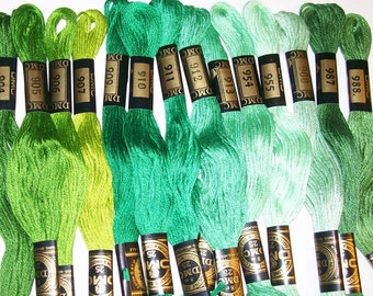 14 New DMC Embroidery Floss Shades of  Green