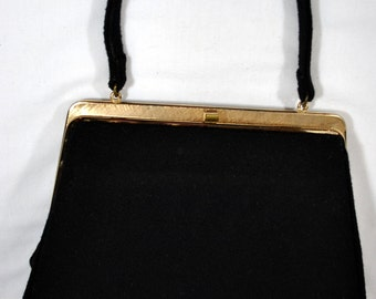 THEODOR of CALIFORNIA Clutch Handbag Black Napped Fabric VINTAGE 1950s