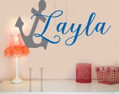 Baby Name Wall Decal, Anchor Monogram Name Vinyl Decals, Beach Decor Decals, College Sorority Dorm Room Gift Wall Decal, Custom Name Decal