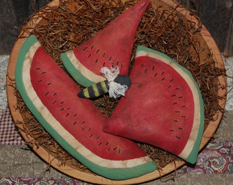 SET OF THREE Primitive Grungy Watermelon Tucks Plus Bumblebee Bowl Filler Summer Ornies